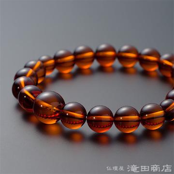 特選腕輪念珠 鑑別書付き 本琥珀(アンバー) 10ミリ玉