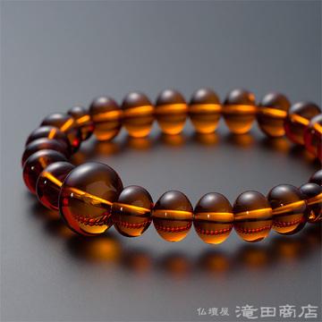 特選腕輪念珠 鑑別書付き 本琥珀(アンバー) みかん玉 10.5×8ミリ玉