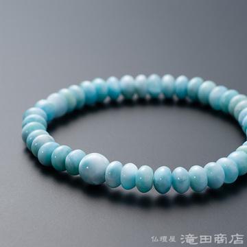 特選腕輪念珠 鑑別書付き ラリマー みかん玉 5.5×4.5ミリ玉