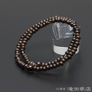 特選腕輪念珠 108珠 縞黒檀(艶消)茶水晶仕立