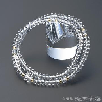 特選腕輪念珠 108珠 本水晶 みかん玉 カット本水晶仕立