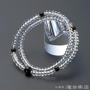 特選腕輪念珠 108珠 本水晶 みかん玉 黒オニキス仕立