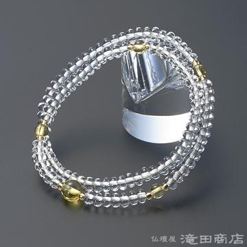 特選腕輪念珠 108珠 本水晶 みかん玉 黄水晶仕立
