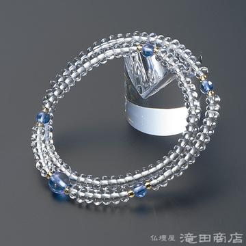 特選腕輪念珠 108珠 本水晶 みかん玉 ブルー水晶仕立