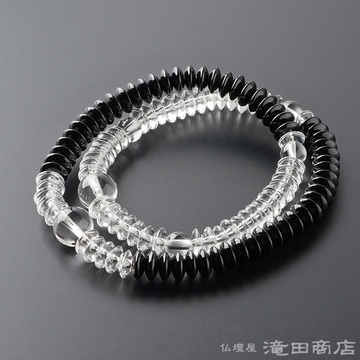特選腕輪念珠 108珠 本水晶 黒オニキス 平玉 半装束仕立