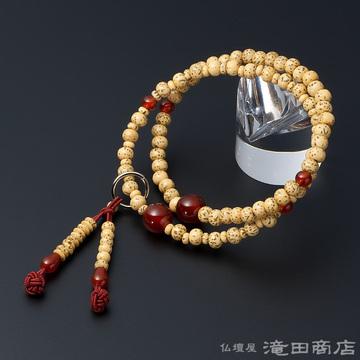 特選腕輪念珠 108珠 浄土宗用 星月菩提樹 瑪瑙(メノウ)仕立