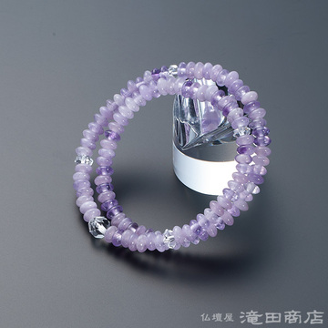 特選腕輪念珠 108珠 紫雲石 カット本水晶仕立