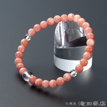 特選腕輪念珠 深海珊瑚 本水晶仕立 6mm玉