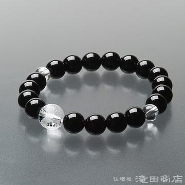 特選腕輪念珠 黒オニキス 龍彫り本水晶 10mm玉