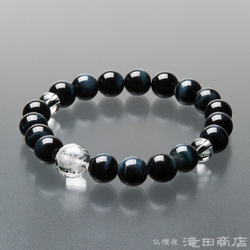 特選腕輪念珠 青虎目石 龍彫り本水晶 10mm玉