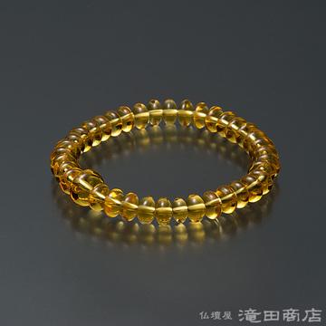 特選腕輪念珠 黄水晶(シトリン) みかん玉 8×5mm玉