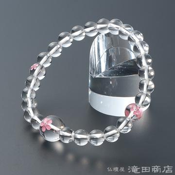 特選腕輪念珠 本水晶 桜彫り 7mm玉