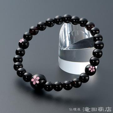 特選腕輪念珠 黒オニキス 桜彫り 7mm玉