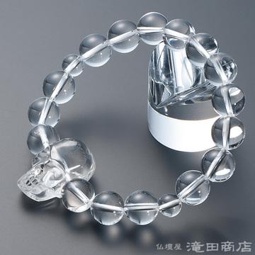 特選腕輪念珠 骸骨彫り(髑髏彫り) 本水晶 12mm玉