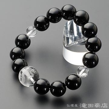 特選腕輪念珠 黒オニキス 龍彫り本水晶 14mm玉