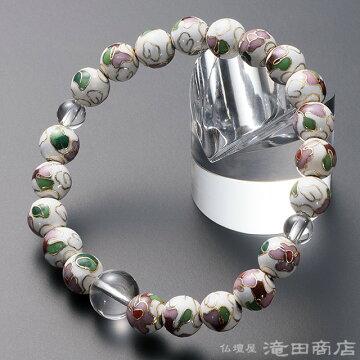 特選腕輪念珠 七宝焼 本水晶仕立 8mm玉