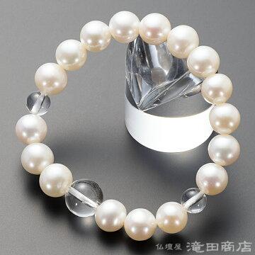 特選腕輪念珠 淡水パール(白) 本水晶仕立 10mm玉