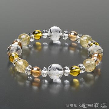 特選腕輪念珠 四神ブレス ルチルクオーツ・黄水晶・ゴールドオーラ