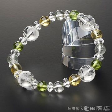 特選腕輪念珠 四神ブレス ペリドット・グリーンファントム・黄水晶