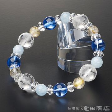 特選腕輪念珠 四神ブレス ブルー水晶・アクアマリン・ルチルクオーツ