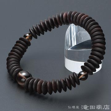 特選腕輪念珠 縞黒檀(艶消) 平玉 茶水晶仕立 54玉