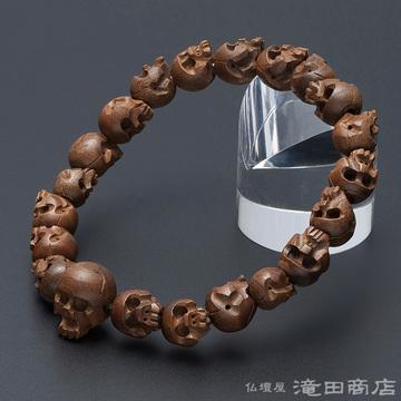 特選腕輪念珠 骸骨彫り(髑髏彫り) 柘植 10mm玉