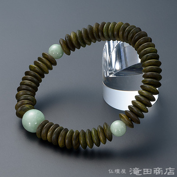 特選腕輪念珠 緑檀(生命樹) 平玉 ビルマ翡翠仕立 54玉