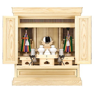 祖霊舎(神徒壇) 上置型18号(内欄間) 神具セット付き kami0401-2