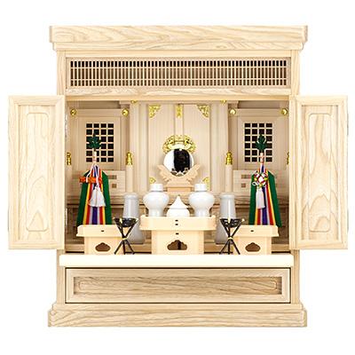 祖霊舎(神徒壇) 上置型20号(山印) 神具セット付き kami0402-2