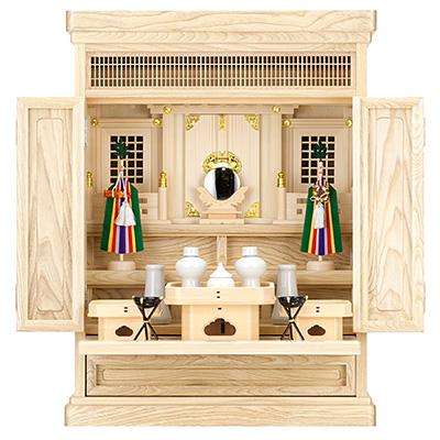 祖霊舎(神徒壇) 上置型23号(山印) 神具セット付き kami0405-2