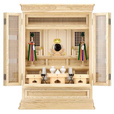 祖霊舎(神徒壇) 上置型30号(山印) 神具セット付き kami0411-2