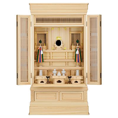 祖霊舎(神徒壇) 地袋付型40号(山印) 神具セット付き kami0412-2