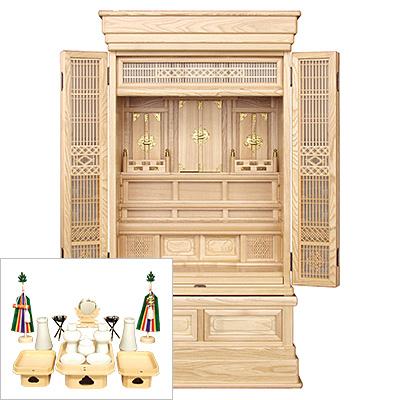 祖霊舎(神徒壇) 地袋付型40号 神具セット付き kami0413-2