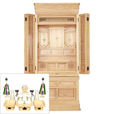 祖霊舎(神徒壇) 台付型50号(巾広) 神具セット付き kami0417-2