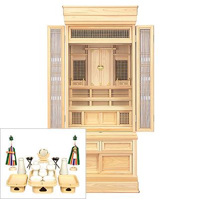 祖霊舎(神徒壇) 台付型53号(山印) 神具セット付き kami0419-2