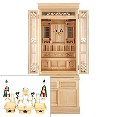 祖霊舎(神徒壇) 台付型54号(杜印) 神具セット付き kami0420-2