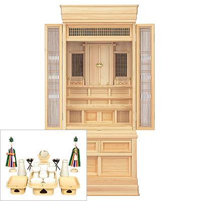 祖霊舎(神徒壇) 台付型56号(山印) 神具セット付き kami0421-2