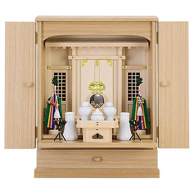 家具調神徒壇(祖霊舎) 上置き型20号 神具セット付き kami0431-04