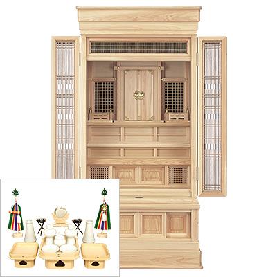 祖霊舎(神徒壇) 地袋付型45号(山印) 神具セット付き kami0437-2
