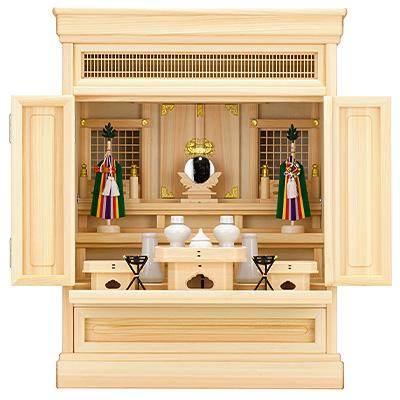 祖霊舎(神徒壇) 上置型25号(山印) 神具セット付き kami0438-2