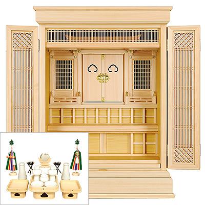 祖霊舎(神徒壇) 上置型30号(杜印) 神具セット付き kami0439-2