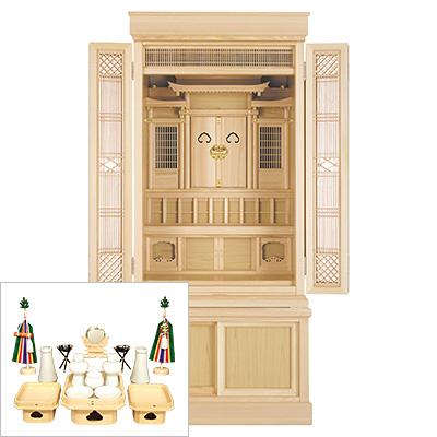 祖霊舎 地袋付型 引き戸高台タイプ43号(杜印) 神具セット付き kami0440-2