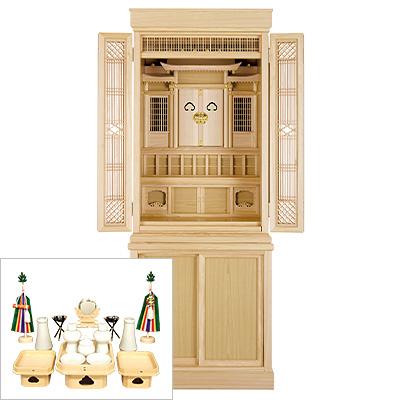 祖霊舎(神徒壇) 引き戸高台タイプ50号(杜印) 神具セット付き kami0441-2