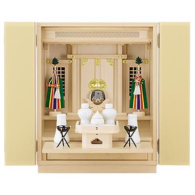 スタイリッシュ神徒壇(祖霊舎) 上置型18号 神具セット付き kami0445-02
