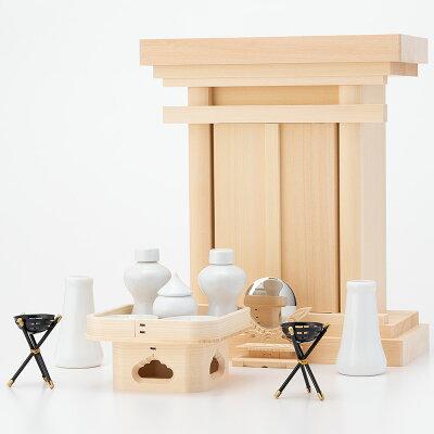 小型祖霊舎(御霊舎) 木曽桧(木印) 小 神具セット付き kami0465-2