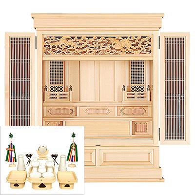 祖霊舎(神徒壇) 浄明(じょうみょう) 上置型30号(木印) 神具セット付き kami0470-2