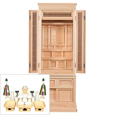 祖霊舎(神徒壇) 萌木(もえぎ) 台付型45号(木印) 神具セット付き kami0472-2