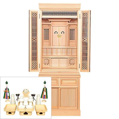 祖霊舎(神徒壇) 報恩(ほうおん) 台付型50号(木印) 神具セット付き kami0473-2