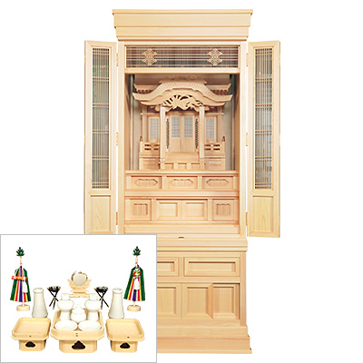 祖霊舎(神徒壇) 永寿(えいじゅ) 台付型53号(木印) 神具セット付き kami0476-2