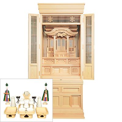 祖霊舎(神徒壇) 永寿(えいじゅ) 台付型57号(木印) 神具セット付き kami0478-2